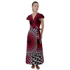 Gradient Spirograph Flutter Sleeve Maxi Dress