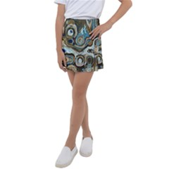 Blue Tidal Pools Abstract Art  Kids  Tennis Skirt by CrypticFragmentsDesign