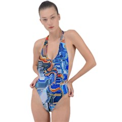 Koi Fish Koi Pond Japanese Inspired Backless Halter One Piece Swimsuit