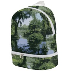 Away From The City Cutout Painted Zip Bottom Backpack
