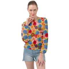 Happy Flowers Banded Bottom Chiffon Top by fabqa