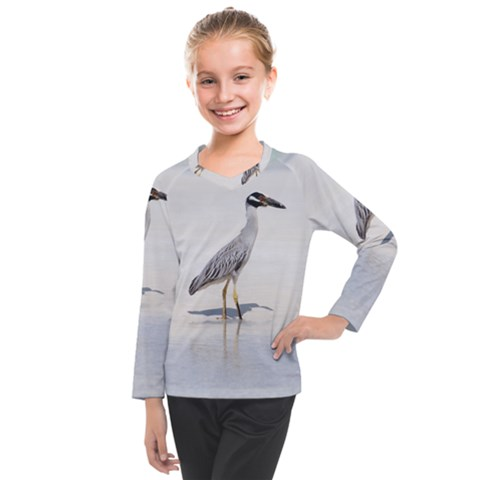 Beach Heron Bird Kids  Long Mesh Tee by TheLazyPineapple
