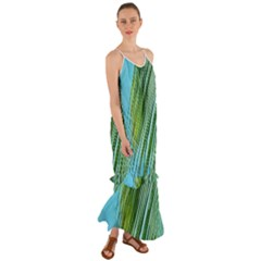 Tropical Palm Cami Maxi Ruffle Chiffon Dress