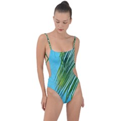 Tropical Palm Tie Strap One Piece Swimsuit