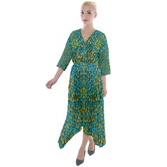 Sun In  The Soft Rainfall Nature Is Blooming Quarter Sleeve Wrap Front Maxi Dress by pepitasart