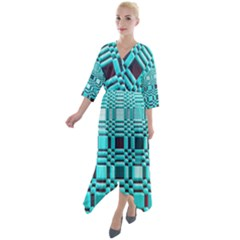 469823231 Glitch37 Quarter Sleeve Wrap Front Maxi Dress