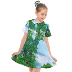 Airbrushed Sky Kids  Short Sleeve Shirt Dress by Fractalsandkaleidoscopes