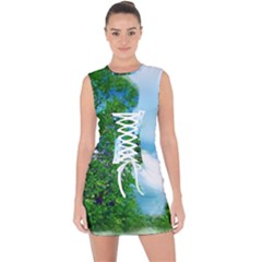 Airbrushed Sky Lace Up Front Bodycon Dress