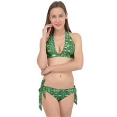 My Paint My Pallet Brocade Green Scarabs Tie It Up Bikini Set