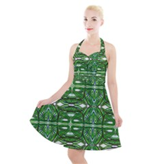 My Paint My Pallet Brocade Green Scarabs Halter Party Swing Dress