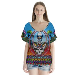 Grateful Dead Wallpapers V Neck Flutter Sleeve Top