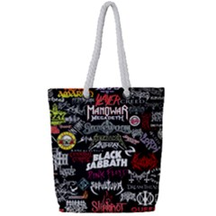 Metal Bands College Full Print Rope Handle Tote (small)