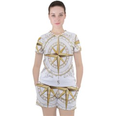 Points Of The Compass Navigation Compass Map Women s Tee And Shorts Set