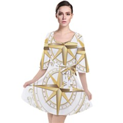 Points Of The Compass Navigation Compass Map Velour Kimono Dress by Bejoart