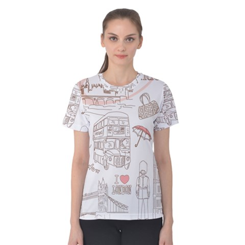 I Love London Drawing Women s Cotton Tee by Bejoart