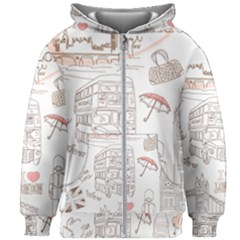 I Love London Drawing Kids  Zipper Hoodie Without Drawstring