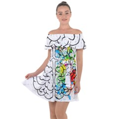 Brain Mind Psychology Idea Drawing Off Shoulder Velour Dress