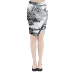 Ink Wash Painting Mountain Rolling Mountains Midi Wrap Pencil Skirt