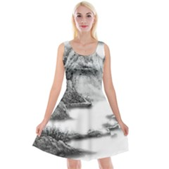 Ink Wash Painting Mountain Rolling Mountains Reversible Velvet Sleeveless Dress