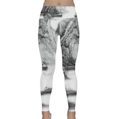 Ink Wash Painting Mountain Rolling Mountains Lightweight Velour Classic Yoga Leggings