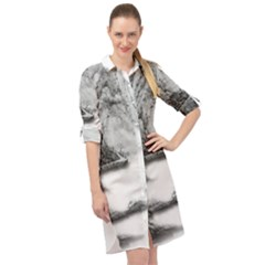 Ink Wash Painting Mountain Rolling Mountains Long Sleeve Mini Shirt Dress
