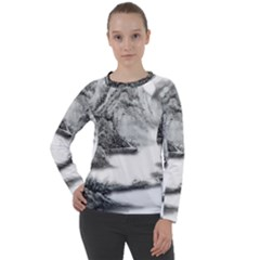 Ink Wash Painting Mountain Rolling Mountains Women s Long Sleeve Raglan Tee