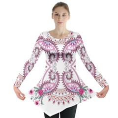 Pink Flower Cartoon Long Sleeve Tunic