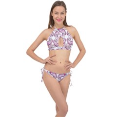 Pink Flower Cartoon Cross Front Halter Bikini Set