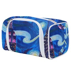 Starry Night In New York Van Gogh Manhattan Chrysler Building And Empire State Building Toiletries Pouch by Bejoart