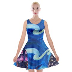 Starry Night In New York Van Gogh Manhattan Chrysler Building And Empire State Building Velvet Skater Dress