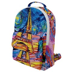 Eiffel Tower Starry Night Print Van Gogh Flap Pocket Backpack (small)
