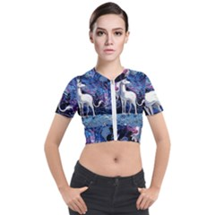 Unicorn Starry Night Print Van Gogh Short Sleeve Cropped Jacket