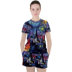 Castle Hogwarts  Starry Night Print Van Gogh Parody Women s Tee And Shorts Set