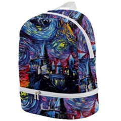 Castle Hogwarts  Starry Night Print Van Gogh Parody Zip Bottom Backpack