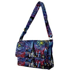 Castle Hogwarts  Starry Night Print Van Gogh Parody Full Print Messenger Bag (l) by Bejoart