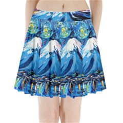 Mount Fuji Art Starry Night Van Gogh Pleated Mini Skirt
