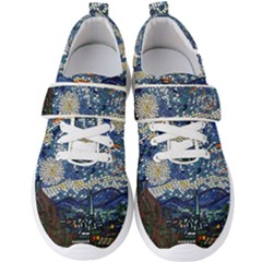 Mosaic Art Vincent Van Gogh s Starry Night Men s Velcro Strap Shoes by Bejoart