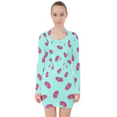 Donuts Pattern Food Colourful V Neck Bodycon Long Sleeve Dress