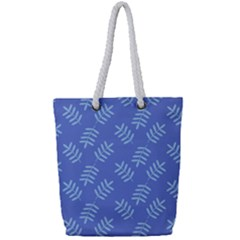 Leaves Ferns Blue Pattern Full Print Rope Handle Tote (small)