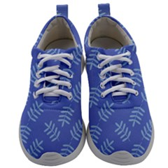 Leaves Ferns Blue Pattern Mens Athletic Shoes by Vaneshart