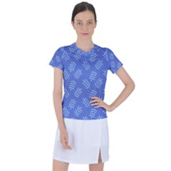 Leaves Ferns Blue Pattern Women s Sports Top
