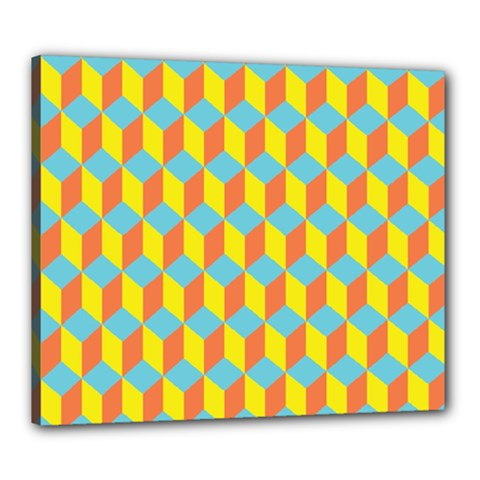 Cube Hexagon Pattern Yellow Blue Canvas 24  X 20  (stretched)