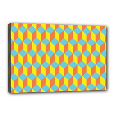 Cube Hexagon Pattern Yellow Blue Canvas 18  X 12  (stretched)