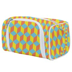 Cube Hexagon Pattern Yellow Blue Toiletries Pouch by Vaneshart