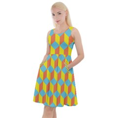 Cube Hexagon Pattern Yellow Blue Knee Length Skater Dress With Pockets