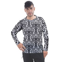 Overlay Transparent Pattern Men s Pique Long Sleeve Tee