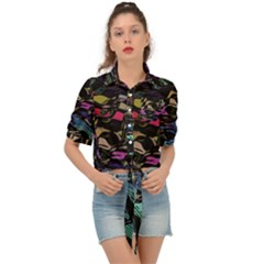 Background Drawing Colorful Pattern Tie Front Shirt  by Vaneshart
