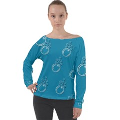Bubble Group Pattern Abstract Off Shoulder Long Sleeve Velour Top