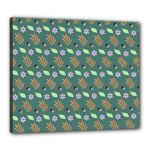 Nature Pattern Spring Green Canvas 24  X 20  (stretched)