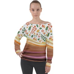 Floral Background Abstract Pattern Off Shoulder Long Sleeve Velour Top